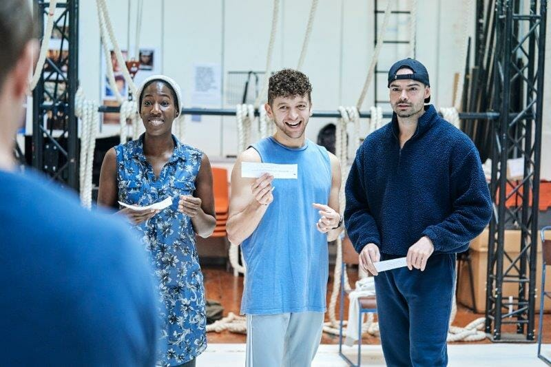Maria Omakinwa Mum Greg Bernstein Harry and Sam Wood in rehearsals for the A Monster Calls UK Tour. Photo credit Manuel Harlan