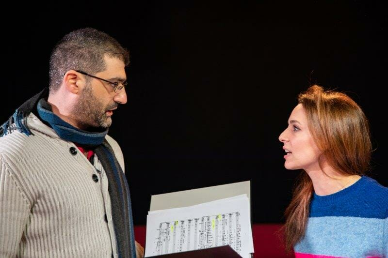 Michael Georgiou and Honey Rouhani in rehearsals for Opera Undone Tosca La bohème credit Beastly Studios