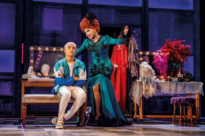 Noah Thomas Jamie and Bianca Del Rio Loco Channelle in Everybodys Talking About Jamie at the Apollo Theatre. Photo credit Matt Crockett