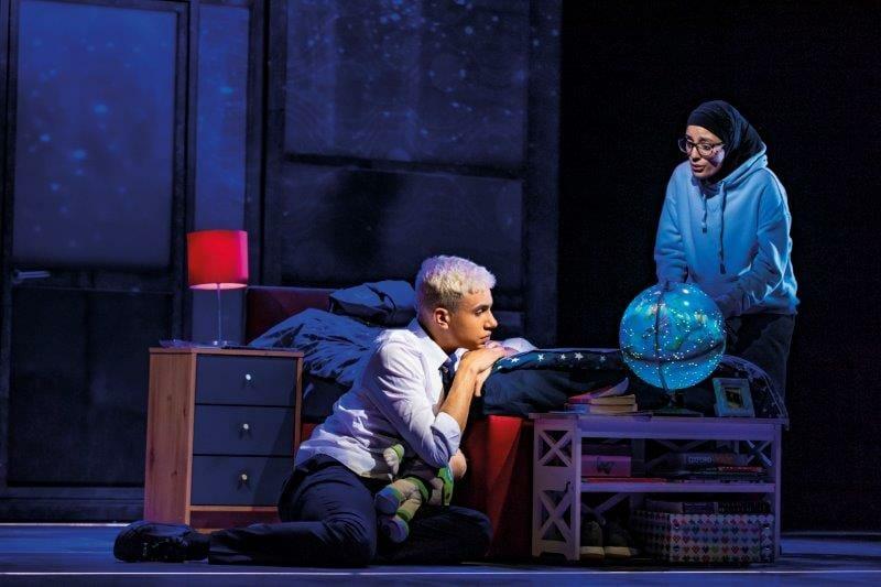 Noah Thomas Jamie and Hiba Elchikhe Pritti in Everybodys Talking About Jamie at the Apollo Theatre. Photo credit Matt Crockett