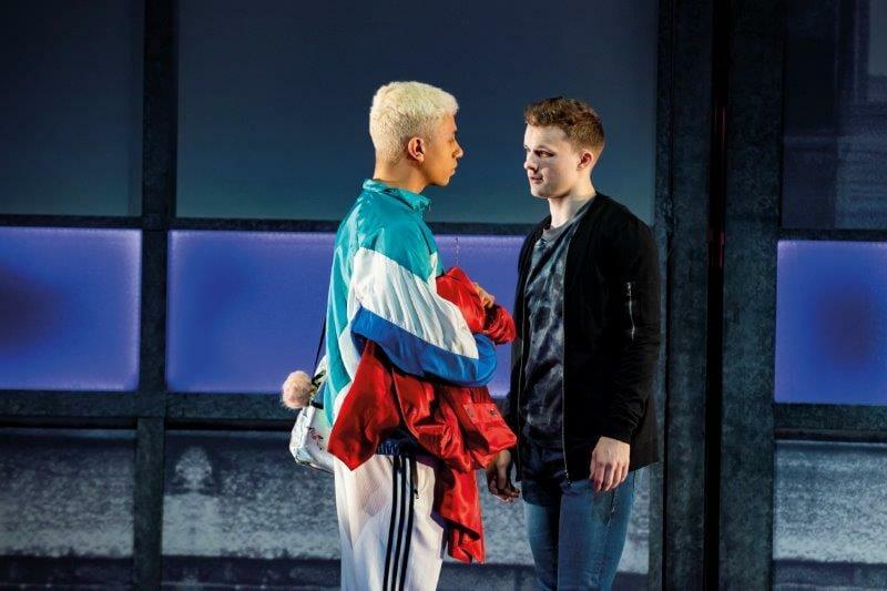 Noah Thomas Jamie and Jordan Ricketts Dean in Everybodys Talking About Jamie at the Apollo Theatre. Photo credit Matt Crockett