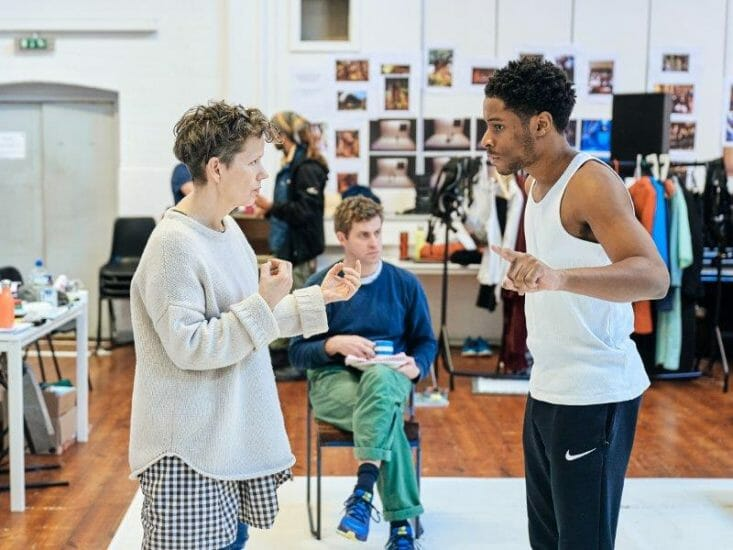 Sally Cookson Director Ewan Wardrop Dad and Ammar Duffus Conor in rehearsals for the A Monster Calls UK Tour. Photo credit Manuel Harlan.