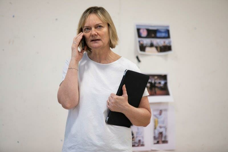 Sarah Woodward Hannah in rehearsals for The Haystack at Hampstead Theatre. Photo credit Ellie Kurttz.