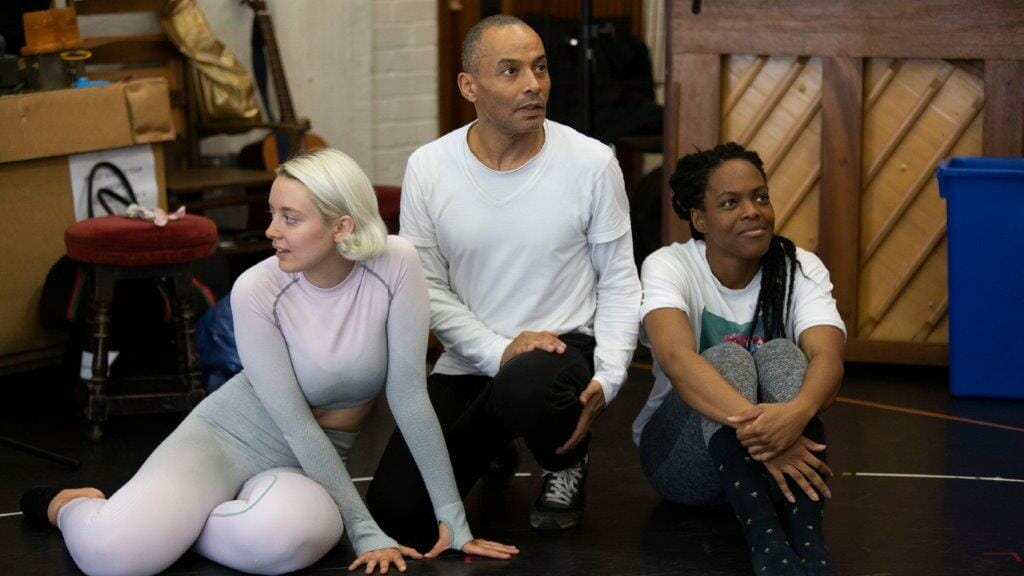 Cast in Hamlet rehearsals at National Theatre c Ellie Kurttz