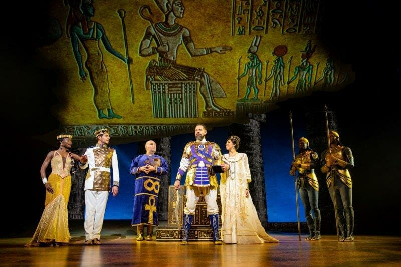 LtoR Tanisha Spring Liam Tamne Adam Pearce Joe Dixon Debbie Kurup in The Prince of Egypt credit Matt Crockett ©DWA LLC