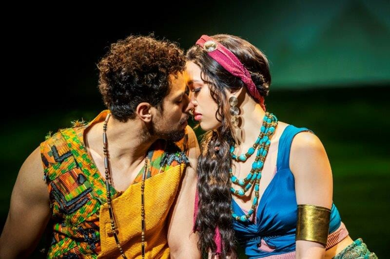 Luke Brady as Moses and Christine Allado as Tzipporah in The Prince Of Egypt credit Tristram Kenton ©DWA LLC