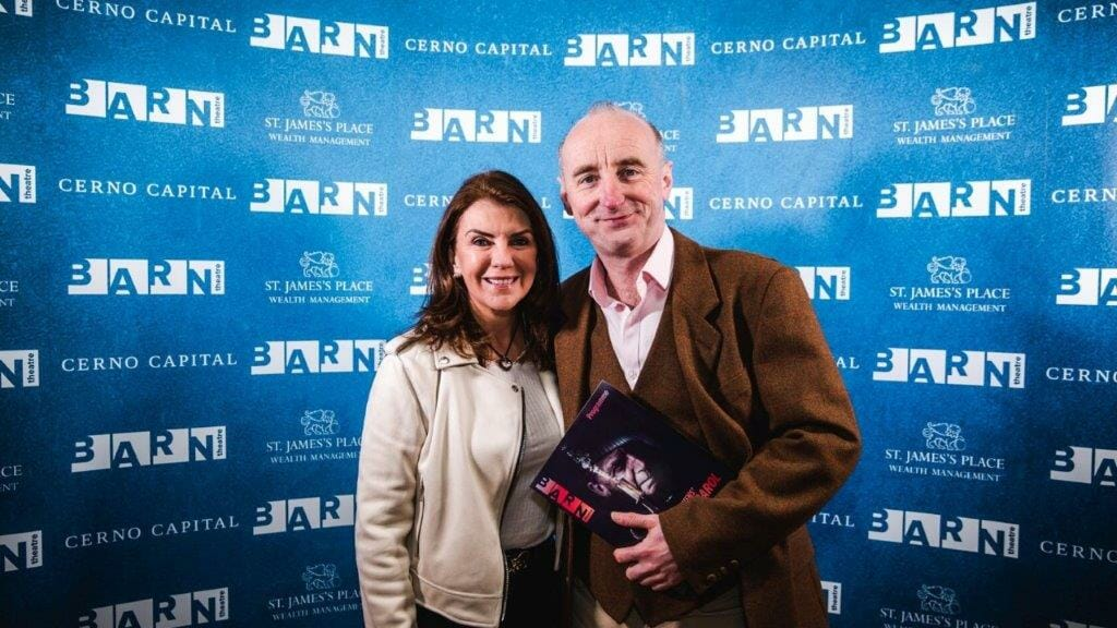Dr Dawn Harper left and partner Jack at the gala night performance for the Barn Theatre production of A Christmas Carol