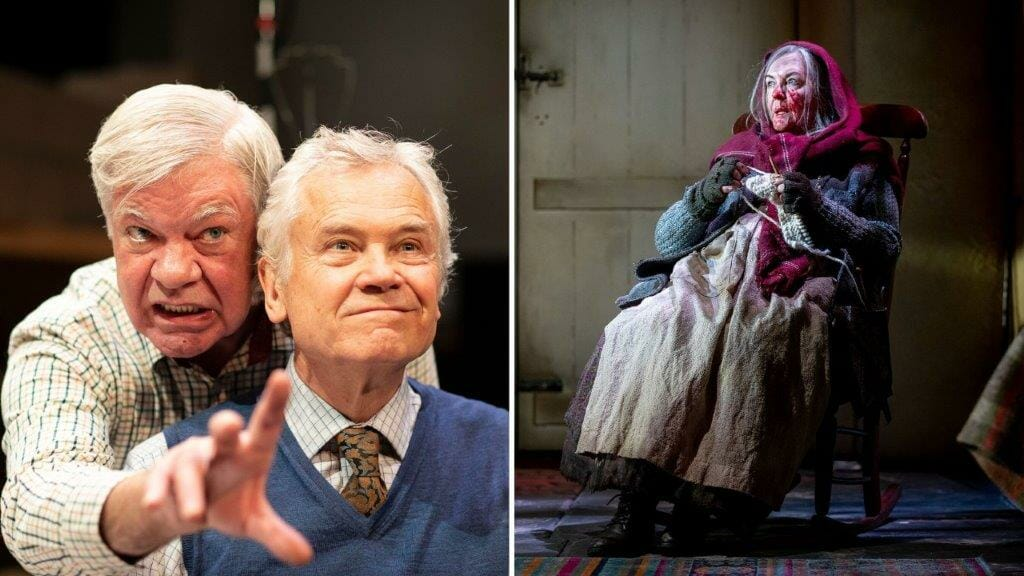 Matthew Kelly David Yelland in THE HABIT OF ART c Helen Maybanks and Gwen Taylor as Enid in THE CROFT. Credit Charlotte Graham