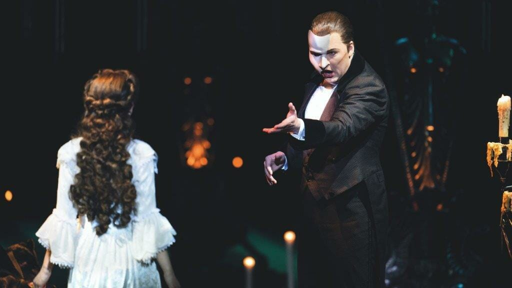 Killian Donnelly The Phantom Holly Anne Hull Christine Daae in The Phantom of the Opera Photo by Johan Persson