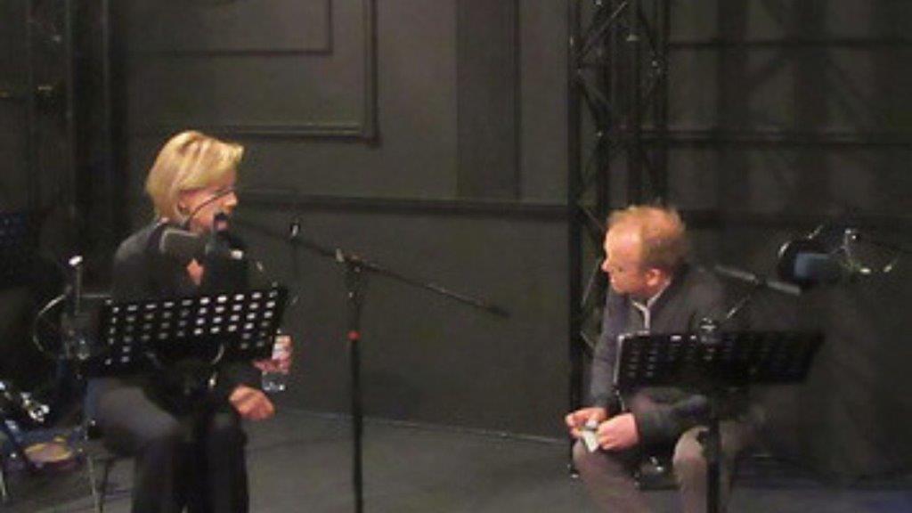 Juliet Stevenson and Toby Jones recording Grims Ditch