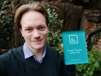 Artistic Director Tom Littler of Jermyn Street Theatre Fringe Theatre of the Year at The Stage Awards